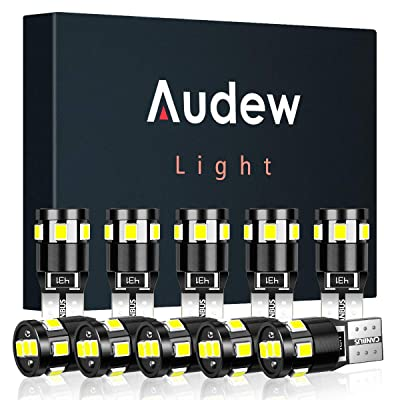 Audew 10 pcs 194 LED Bulb 6000K Super Bright T10 194 168 W5W LED Light Bulb for Dome/Map/Parking/Marker/License Plate Light,Canbus Error Free,White: Automotive