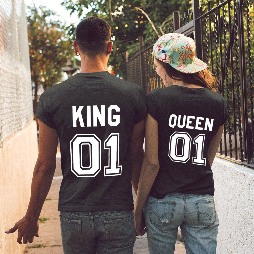 fb173741e995f Parejas Camiseta King Queen T-Shirt 100% Algodón Shirts Impresión 01 2  Piezas de. Ampliar imagen