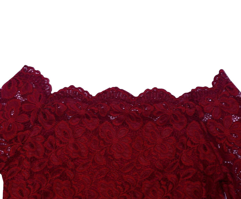 FANTIGO Donna Elegante Manica Lunga Maglietta Floreale Spalle Scoperte Bluse in in Pizzo Camicetta Maglie a Camicia Tops