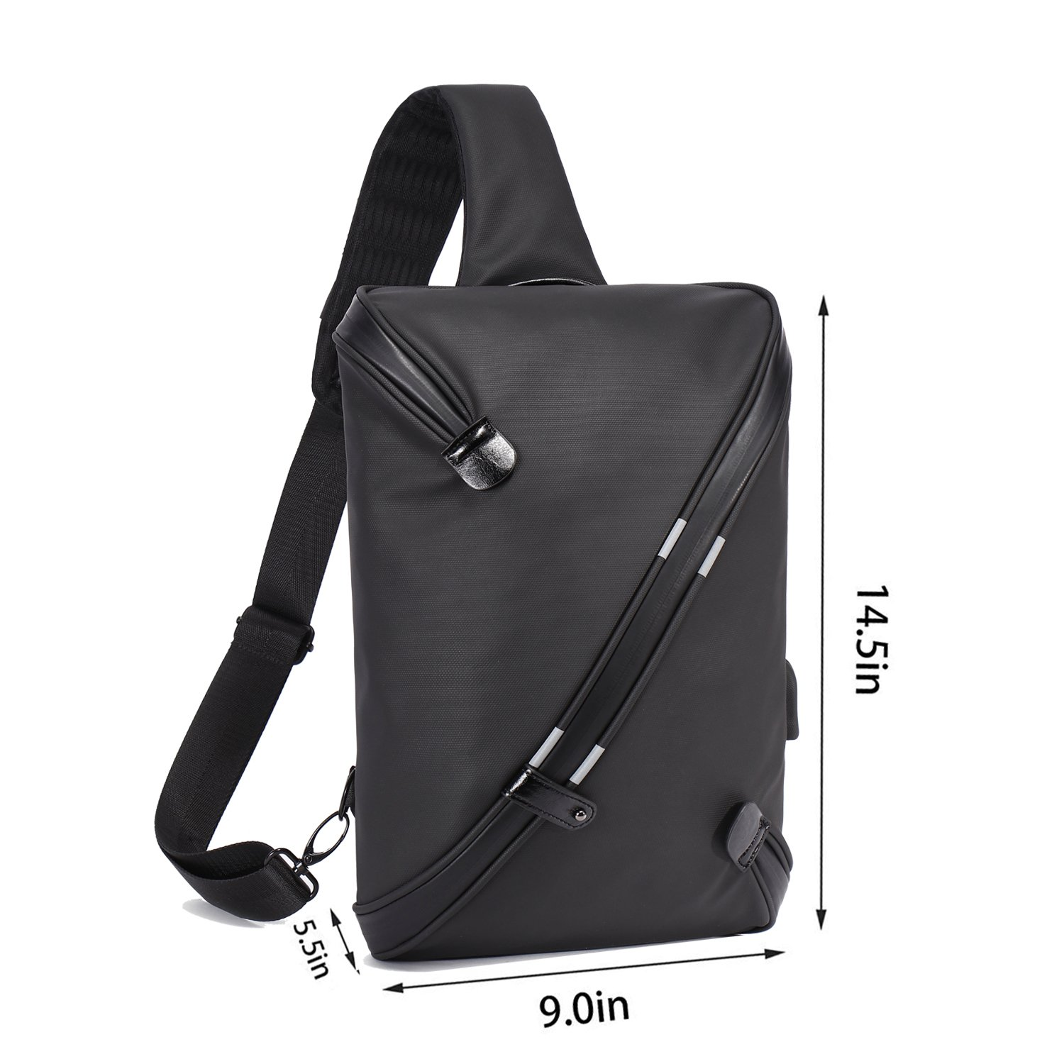 BeckySling Chest Shoulder Backpack,Travel Fashion Crossbody Bag Multipurpose Casual Daypacks for Men&Women,Hiking Triangle Rucksack with USB Charging Port-Black by BECKY (Image #2)