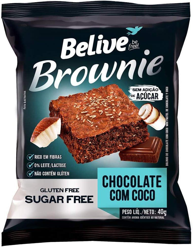 Brownie Chocolate com Coco Zero Açúcar sem Glúten sem Lactose Belive 40g