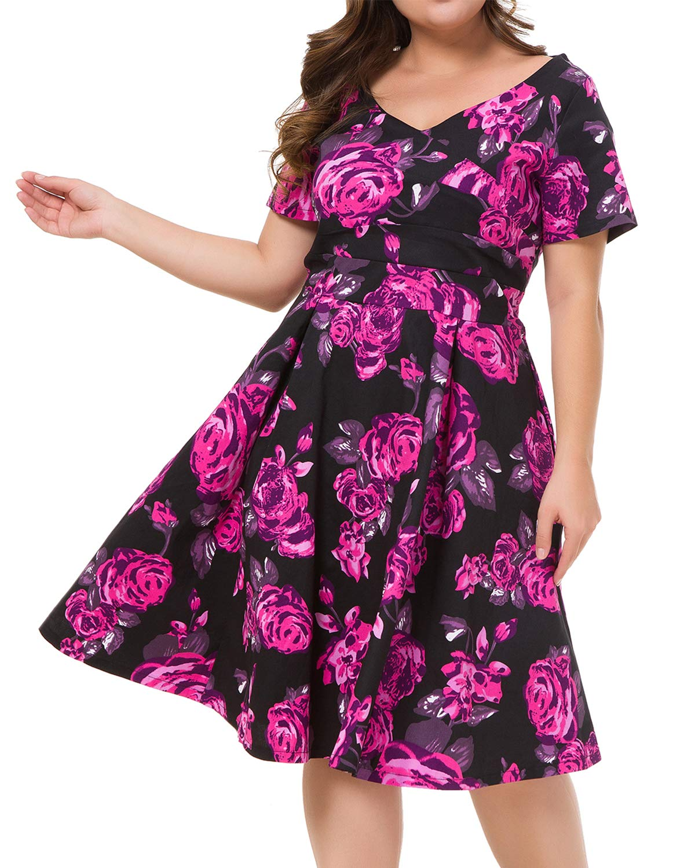 Women's Plus Size Vintage Floral Print Surplice V Neck Short Sleeve Swing Party Dress Black Flower 16W