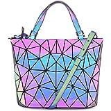 HotOne Geometric Luminous Purses Handbags Shard Lattice Eco-Friendly Leather Rainbow Holographic Purse