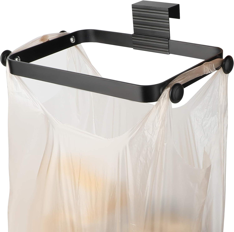 Metal Trash Bag holder for Kitchen,Office,Dorm Room,Hanging Trash Can, under Cabinet Hanger Rack,Space Saving Garbage Hook,bag holder for plastic bags,Black