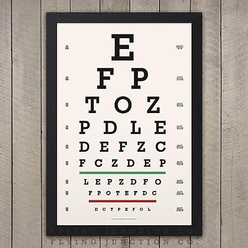 Amazon Eye Chart Print Snellen Vintage Look Handmade