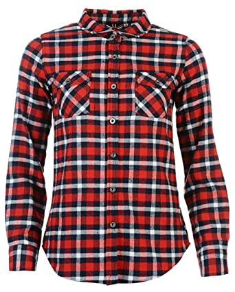 Ladies Lee Cooper Check Flannel Shirt Long Sleeved Top (10, Navy/Red/
