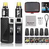 Salcar V60 Mod kit/Cigarrillo Electrónico Starter Set y 5 x 10ml E Liquid || V60 Mod Kit con 2200 mAh batería + 2.0 ml / 0.5ohmTop Refill Vaporizador, 0,0 mg nicotina (Negro)