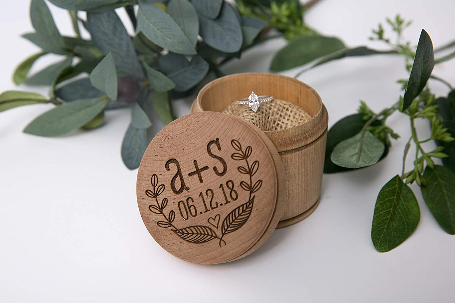 Personalized Engraved Ring Bearer Pillow Box - Leaves Initials and Date