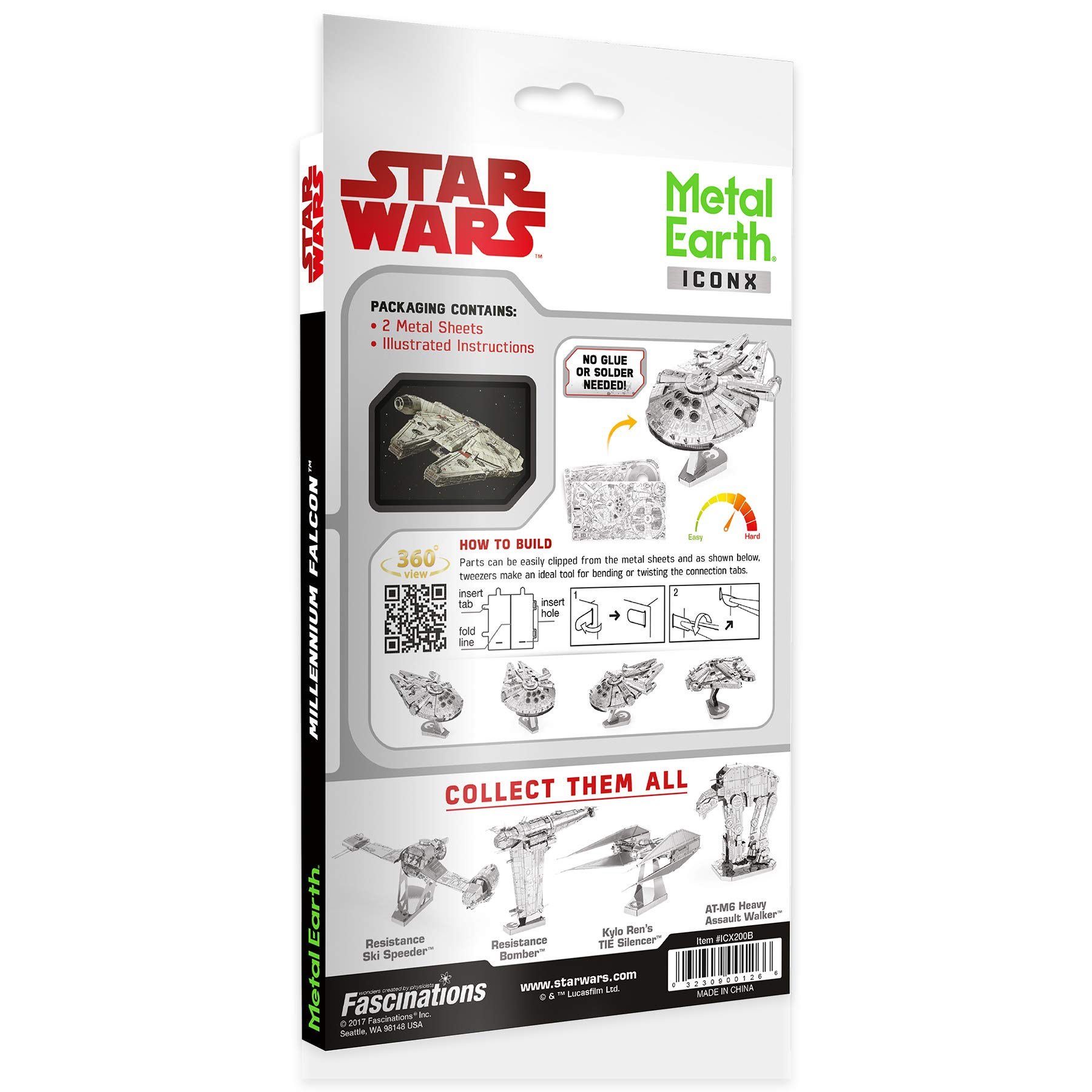 Metal Earth ICONX Star Wars Millennium Falcon Premium Series 3D Metal Model Kit by Fascinations (Image #3)