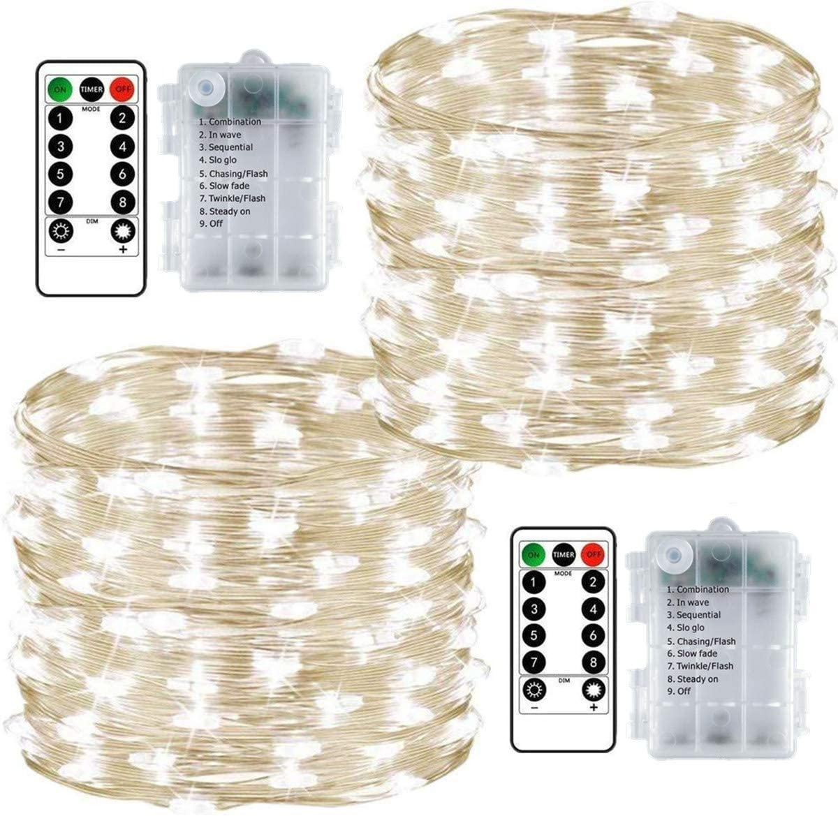8 Lighting Modes Wireless 50 LED Fairy Lights for Indoor//Outdoor Use Christmas
