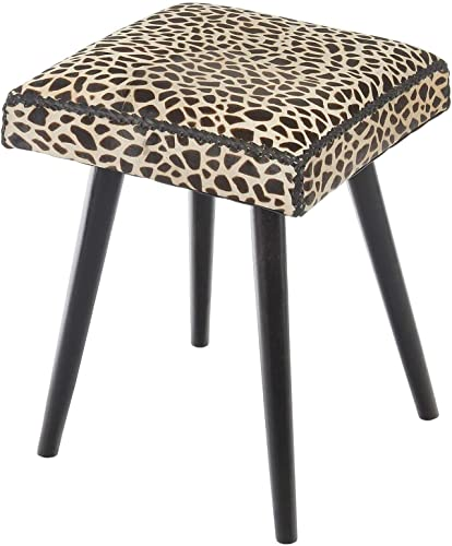 Safari Cow Hide Mahogany Vanity Stool, Leopard Print