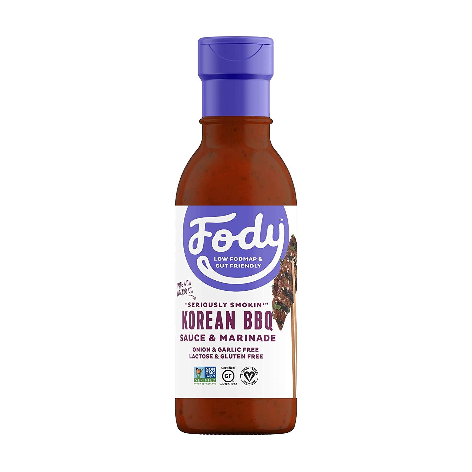 Fody Foods Vegan Korean BBQ Sauce Marinade Pack | Red Miso | Avocado Oil | Low FODMAP Certified | Gut Friendly No Onion No Garlic No MSG | IBS Friendly | Gluten Free Lactose Free | 4 Bottles, 8 Ounce