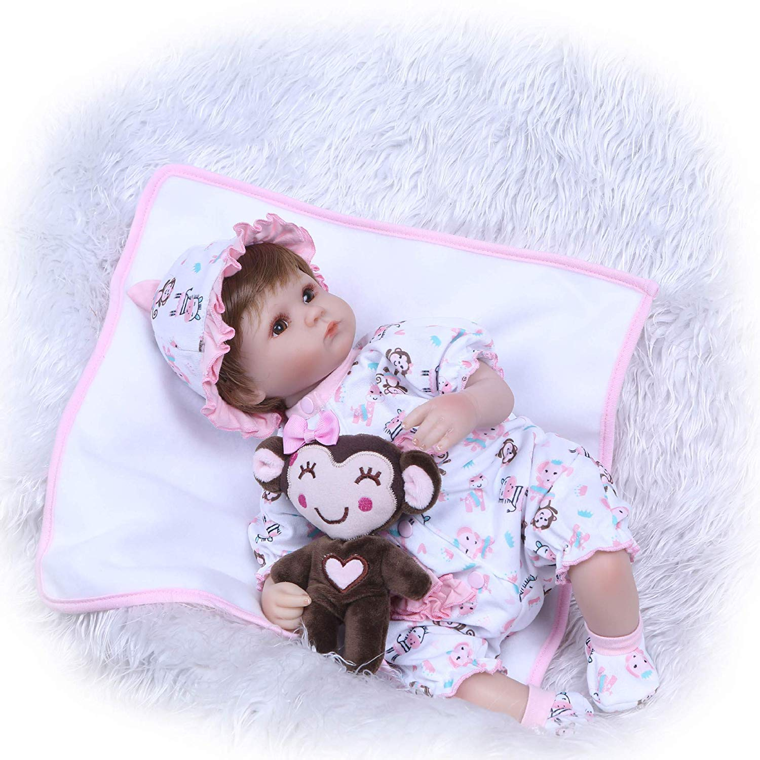 MGF 965 Reborn Baby Baby Girl, 40cm Realistic Silicone Baby Baby Girl Xmas Gift for Kids Age Alter 3 + 15788d
