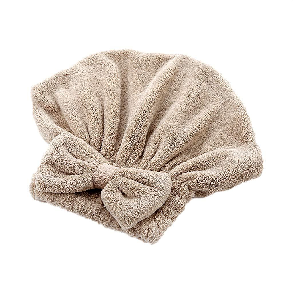 Towel, Bathroom Supplies, Bow Thick Coral Fleece Cute Dry Hair Cap, ♚Rendodon♚ Cartoon Microfiber Hair Turban Quickly Dry Hair Hat Wrapped Towel Bathing Cap (Coffee)