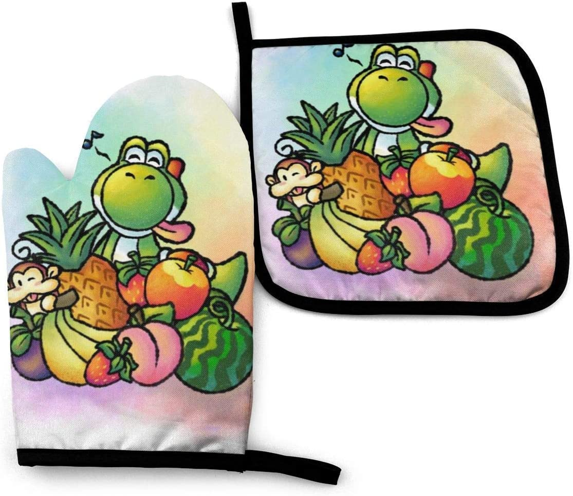 Washable Oven Gloves for BBQ Cooking Baking Grilling Waterproof Polyester gfhfdjhf Yoshis Dragon Kitchen Heat Resistant Oven Mitts and Pot Holder Sets