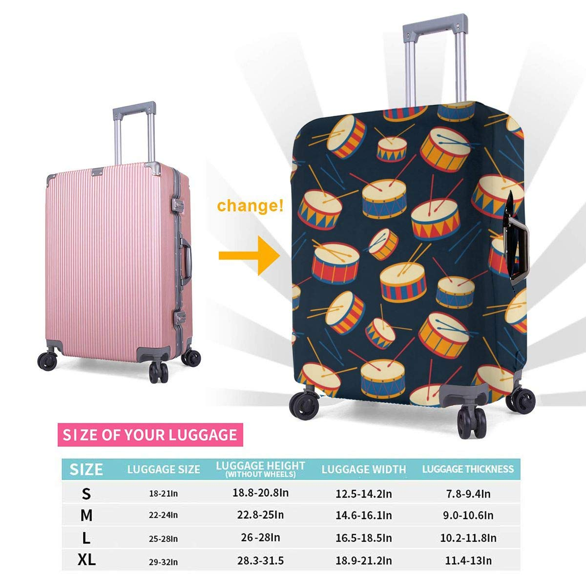 Drums And Drum Sticks Travel Luggage Cover Suitcase Protector Washable Zipper Baggage Cover