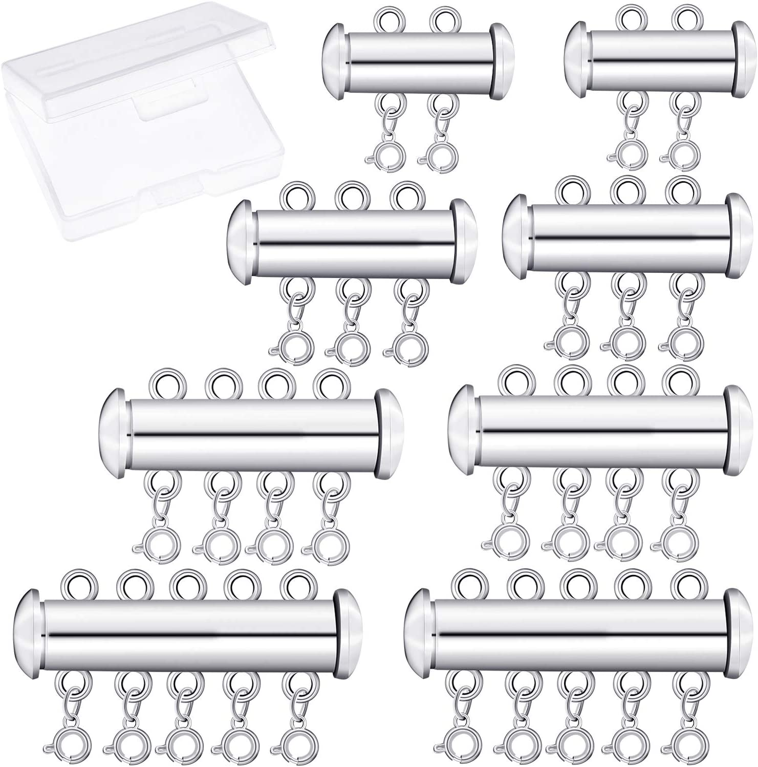 8 Pieces 4 Sizes Slide Clasp Lock Necklace Connector Multi Strands Slide Tube Clasps with Storage Box for Layered Bracelet Necklace Jewelry Crafts (Silver)