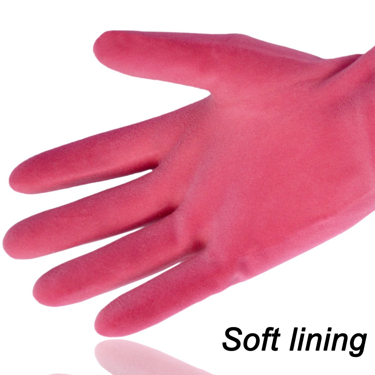 Rubber Household Gloves, Reusable Long Latex Kitchen Cleaning Gloves, with Cotton Lining (Pink 2 Pairs) by Cleanbear (Image #3)