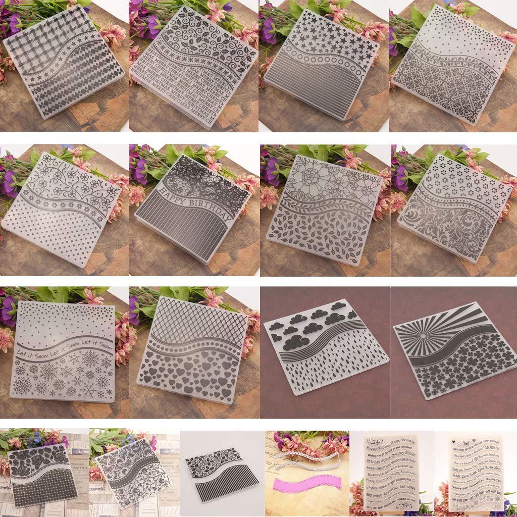 Qingchin 15pcs Embossing Folder Template + 2pcs Seal Stamp + Cutting Dies Stencil Set DIY Scrapbooking Embossing Craft by Qingchin