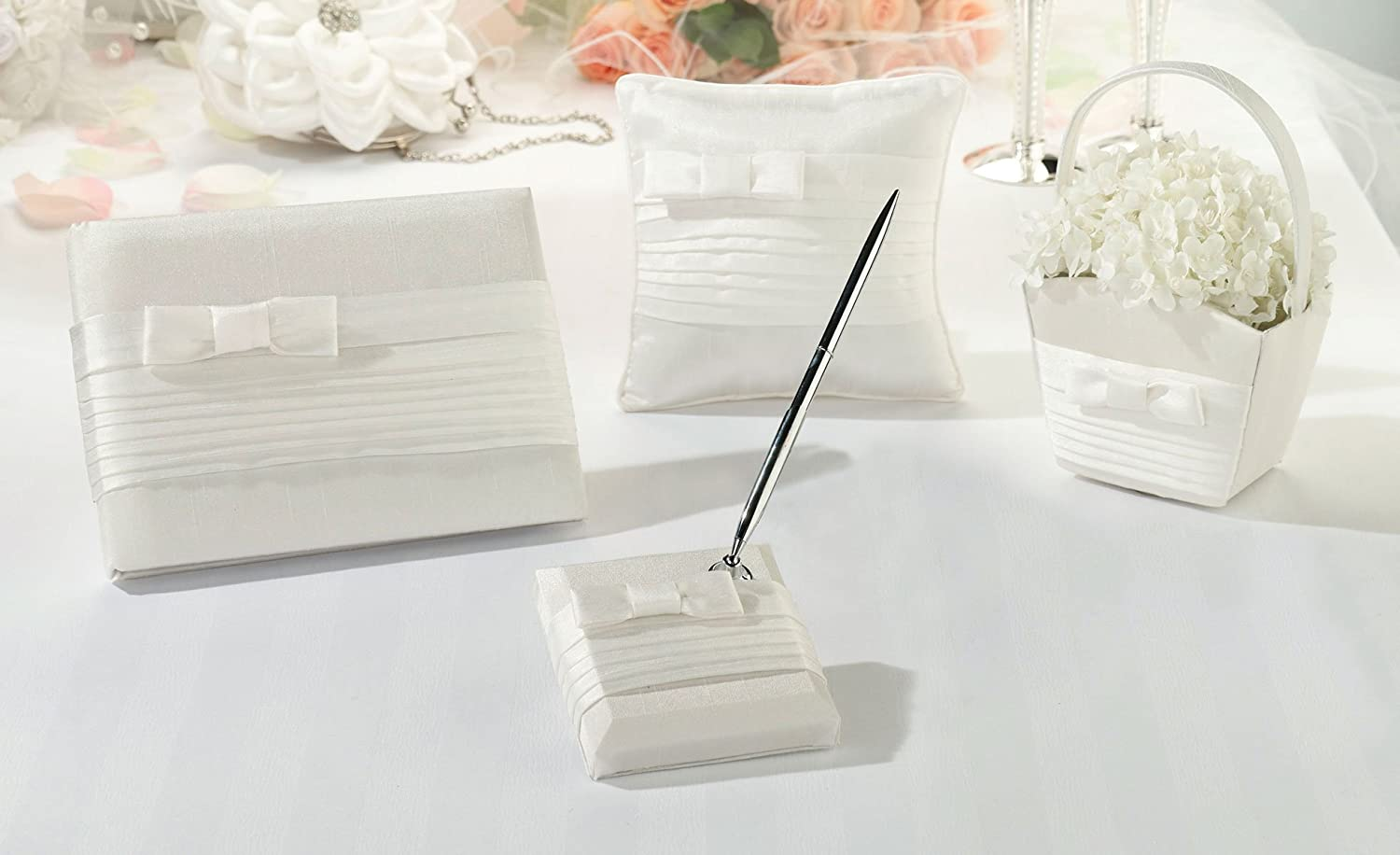 Lillian Rose Simple White Pleated Silk Wedding Ring Pillow RP520 W