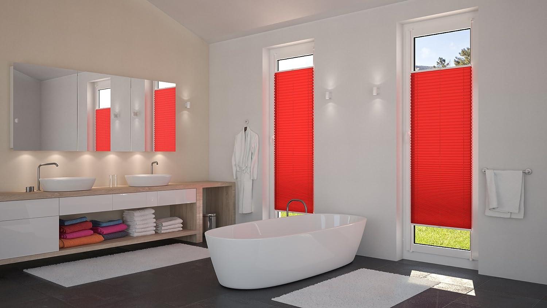 disponibile in diverse dimensioni Tenda plissettata DecoProfi rosso rossa 50 cm x 220 cm BxH Tessuto con morsetto//fissaggio a clip//montaggio senza viti