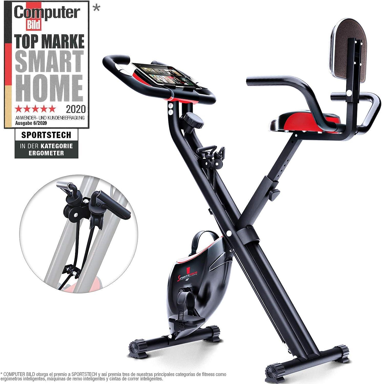 Sportstech Bicicleta estática Plegable con Respaldo X100-B con Volante de inercia de 4kg + Soporte para Tablet + 4 Niveles de Resistencia magnetica + sensores de Ritmo cardiaco: Amazon.es: Deportes y aire libre