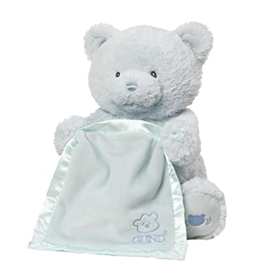 Baby GUND My First Teddy Bear Peek A Boo Animated Stuffed Animal Plush, Blue, 11.5