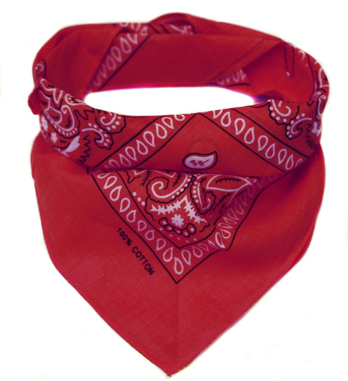 Bandana/Foulard Classica con Motivo Paisley - Rossa, 100% cotone, 55x55 cm Bandana (gemustert)