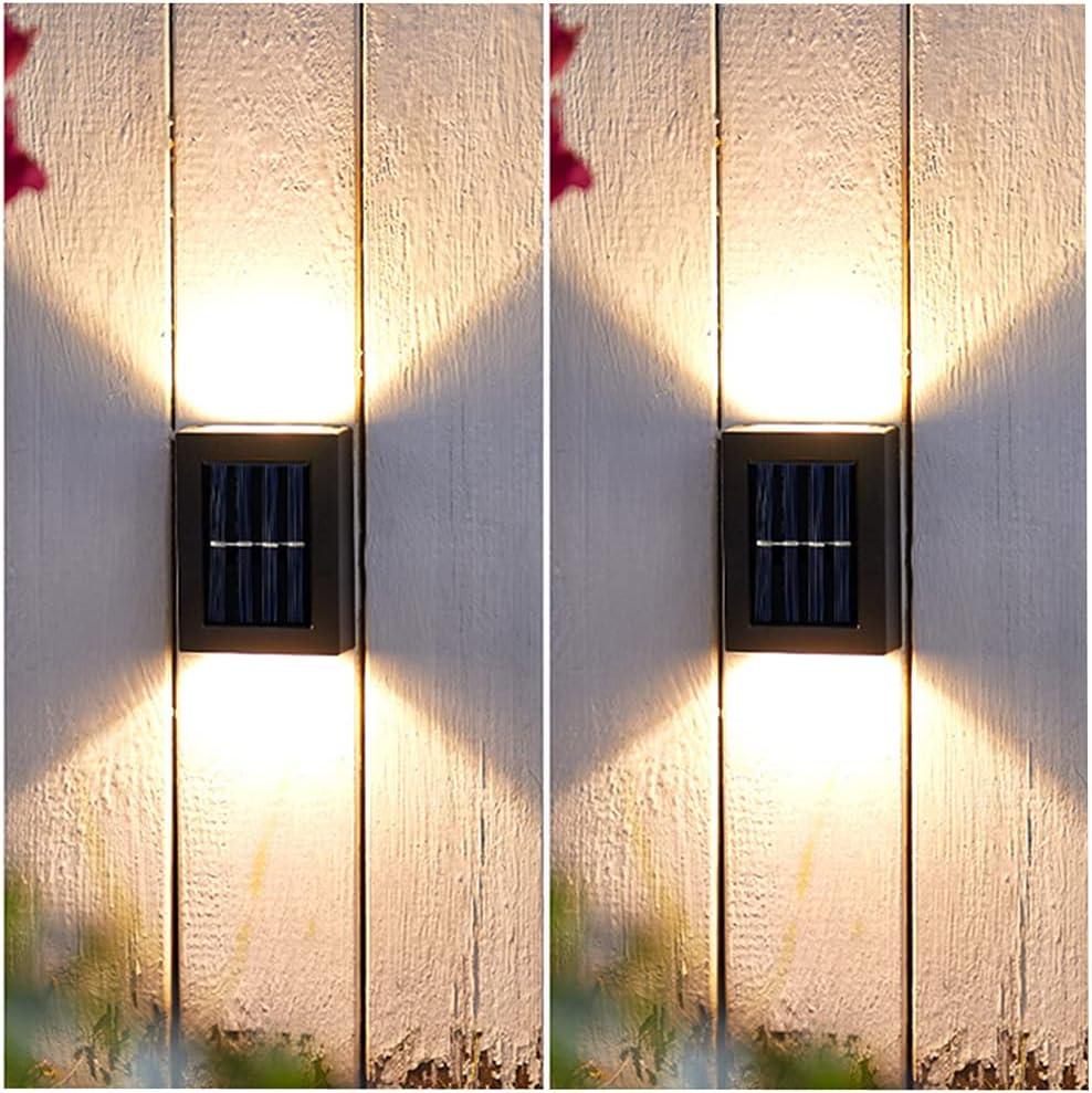 Solar Light Outdoor,Fence Solar Light ,Patio Decor Light 2 Packs, Outdoor Decorative Lighting,Up Down Wall Light Solar Light for Garden Outdoor Wall Backyard Patio Waterproof (Warm White)