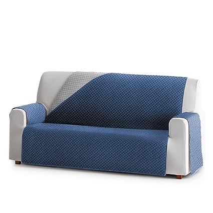 Innovaciones Roser Funda Cubre Sofá Práctica Modelo Reversible Brasilia, Color Azul, Medida 1 Plaza – 55cm de Respaldo