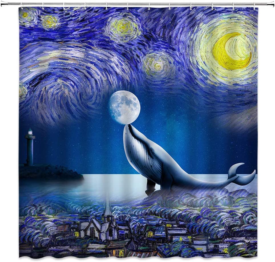 Fantasy Shower Curtain Humpback Whale Kissing Moon Under Starry Night Decor Sea Animal Fairy Nature,Fabric Bathroom Set Hooks Included 70x70 Inch,Blue