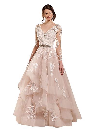 b0fcdb0085 Doramei Women s Ball Gown Long Sleeve Lace Appliques Backless Wedding Dress  2018 Ivory 2