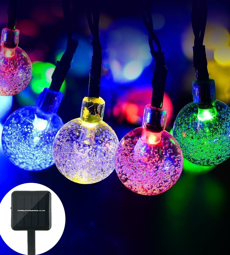 Solar String Light Globe,20ft 30 LED Solar Powered String Fairy Bubble Shaped Lights Outdoor Party Wedding Garden Christmas Party Decor(Multicolor)
