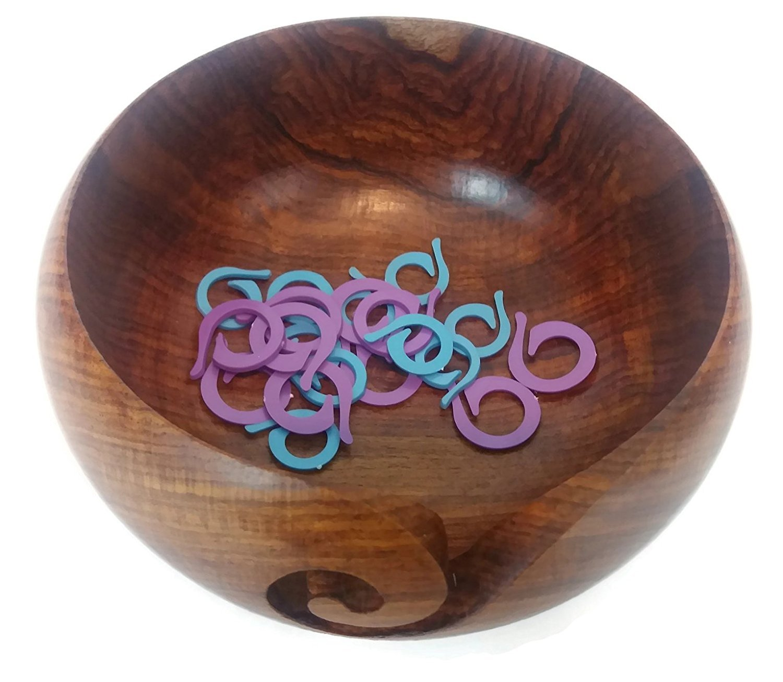Yarn Bowl - Wooden, Handmade, Portable Yarn Holder WITH Stitch Markers  Bundle - 6