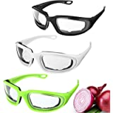 3 Pieces Onion Goggles Glasses Anti-Fog No-Tears Kitchen Onion Glasses with Inside Sponge for Onion Tearless BBQ Grilling Dus