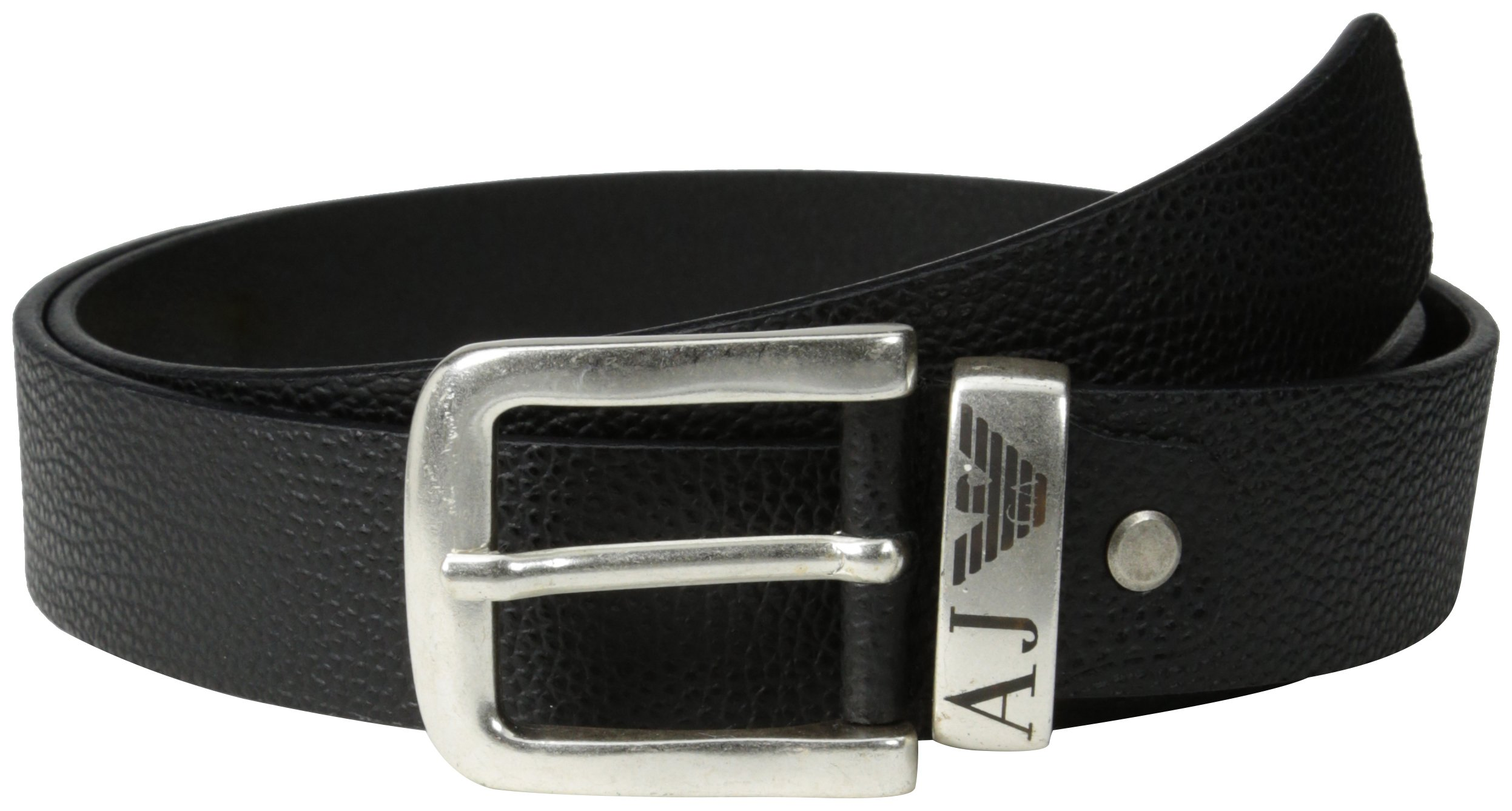 Armani Jeans Men's R6 Belt with Logo On Keeper, Black, One Size by ARMANI JEANS