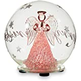 "5"" Christmas Hand Blown Glass Snowglobe With Color Changing LED Lights (Angel)"