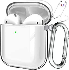 Valkit Compatible AirPod Case Cover, Clear Airpods Case with Keychain Soft TPU Protective Cover Shockproof Case for Girls Women Men Compatible with Apple AirPods Charging Case 2 & 1 - Transparent