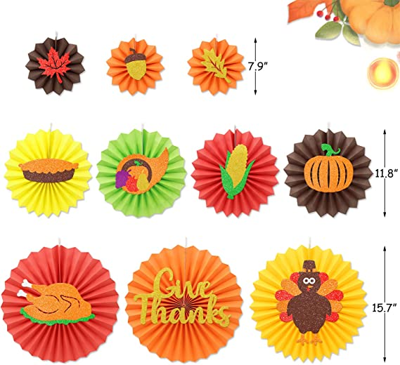 Thanksgiving Decorations Set Friendsgiving Theme Party Supplies Paper Fans Garland Lanterns Backdrop Fall Home Table Wall Fireplace Decor with Turkey Pumpkin Harvest Autumn Ornaments