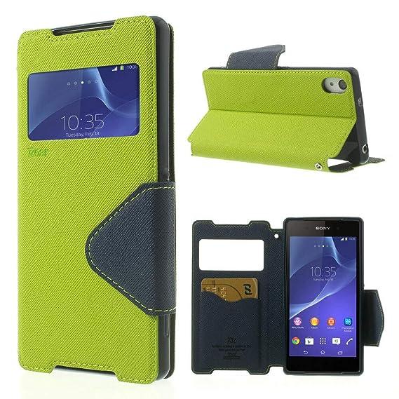 NessKa® Hülle Für Sony Xperia Z5 | Hülle in Grün | Handyhülle mit Kartenfach Fenster und Standfunktion Schutzhülle Flip Case