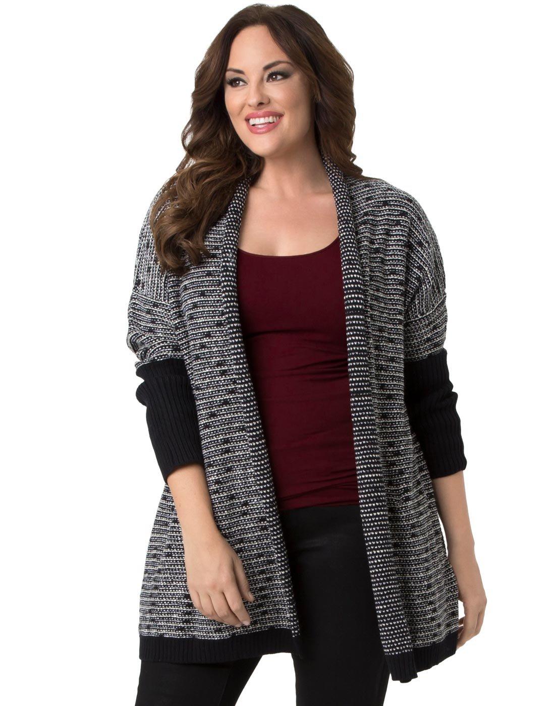 Kiyonna Clothing Women's Plus Size Knit Wrap by Lyssé 1X Black Slub