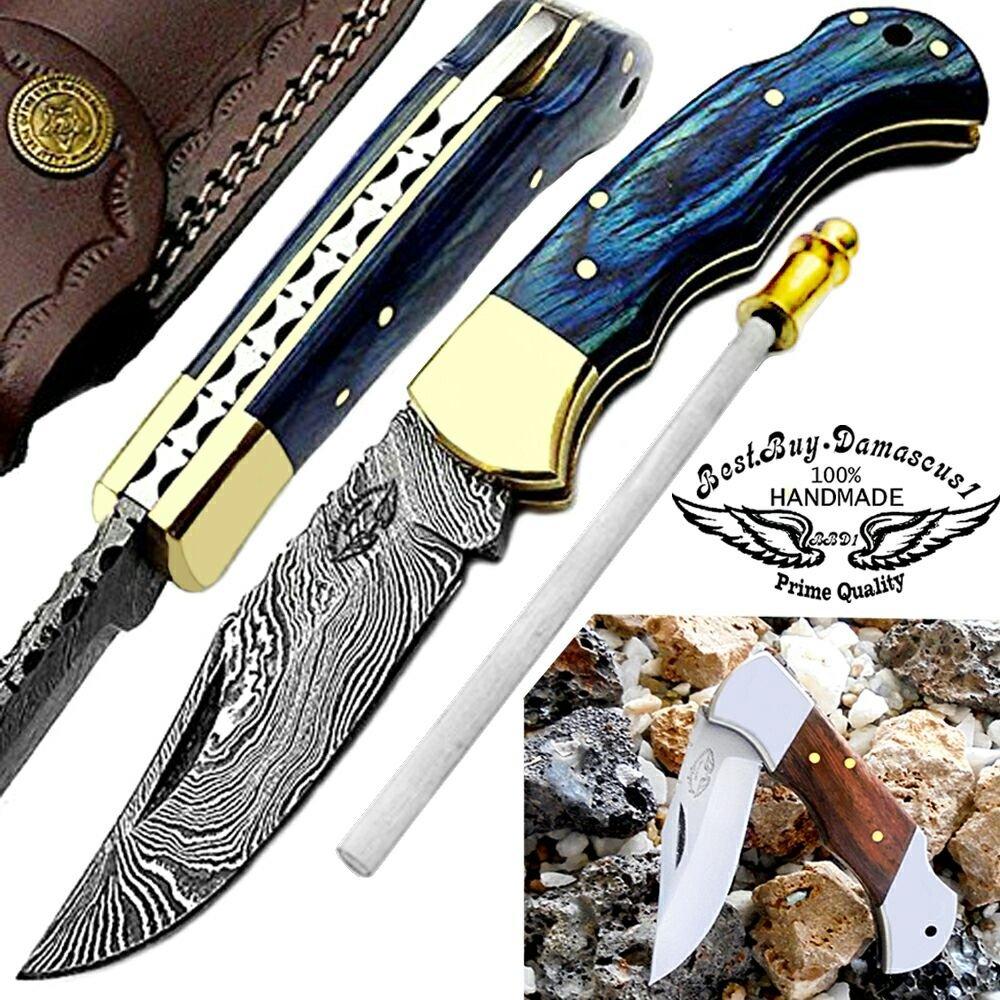 Blue Wood 6.5'' Custom Handmade Damascus Steel Brass Knife with Sharpening Rod 100%