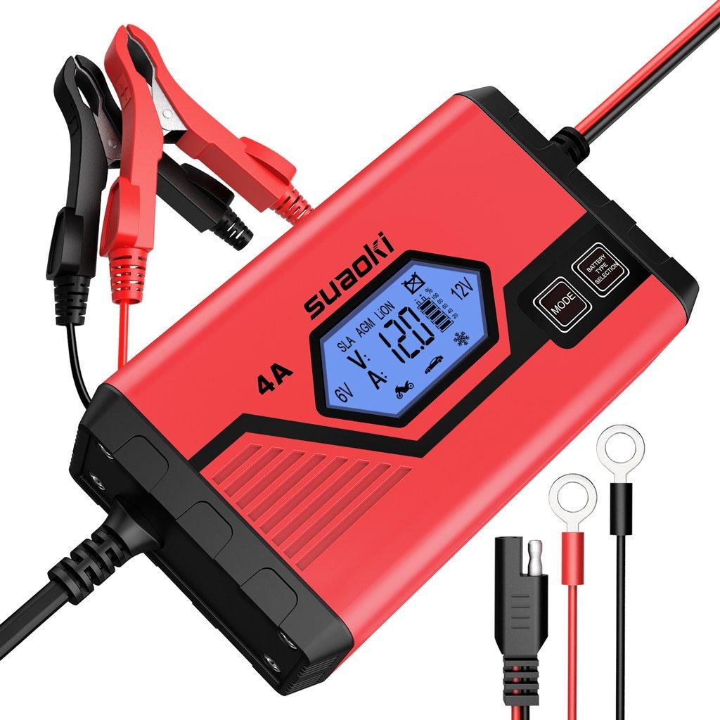 Suaoki - Chargeur de Batterie pour Voiture 4 Ampè res 6/12V, Mainteneur Intelligent et Automatique avec Plusieurs Protections, 8 Etapes d'Identification des Charges pour Voiture, Camion, Moto 8 Etapes d' Identification des Charges pour Voiture