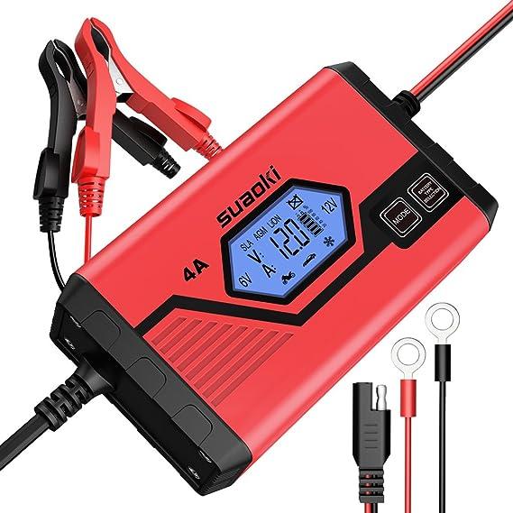 SUAOKI 4A Batterie Ladegerät 6/12V, Batterieladegerät Erhaltungsladegerät 8 Schritt Vollautomatisches Kraftpaket Batterielade