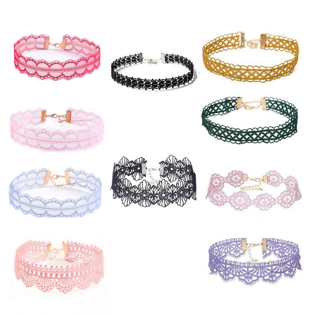 10 Pieces Colored Choker Necklace Lace Choker Tattoo Necklace for Women Girls
