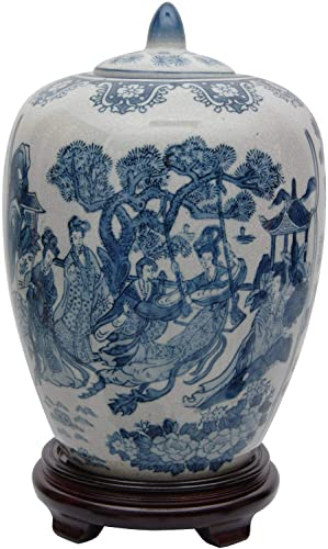Oriental Furniture 11″ Ladies Blue White Porcelain Vase Jar