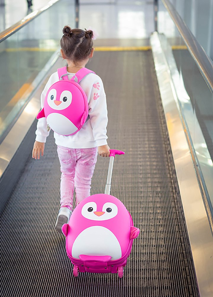 Cute Animal Travel Trolley Luggage for Kids - Pink Penguin by Kids Travel Boutique (Image #6)