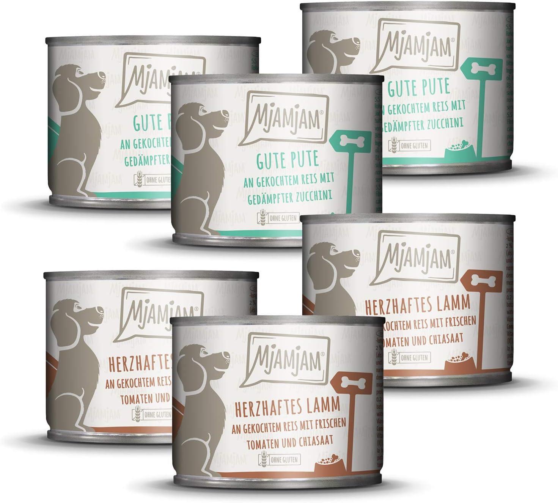 MjAMjAM - Pienso acuoso para Perros - MONOPROTEICO Pack I 3* Pavo y arroz, 3* Cordero 6 x 200 g
