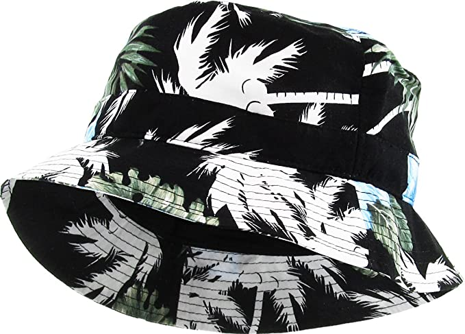91f28fd3ee7 KBM-006 BLK-BLU Floral Print Bucket Hat Hawaii Hat Cap at Amazon ...