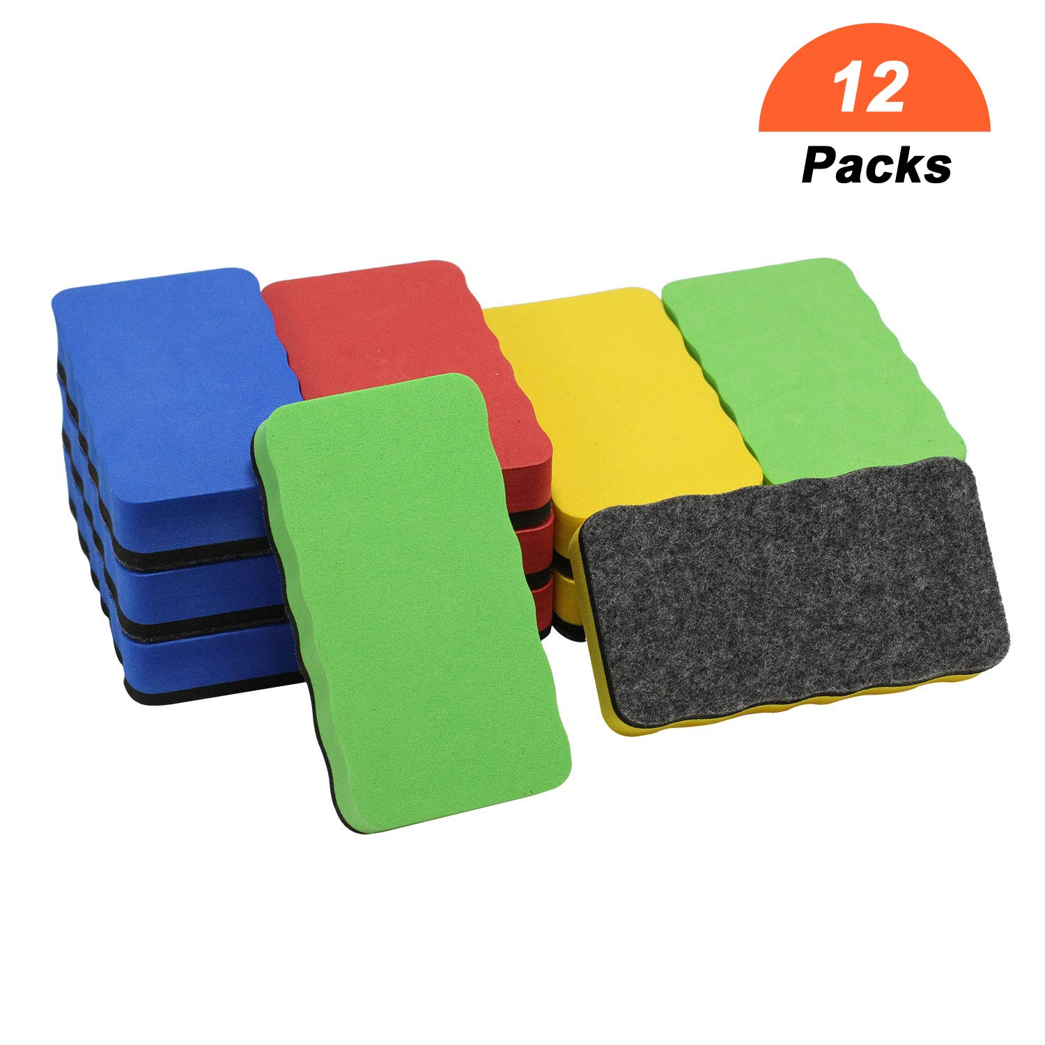 Dry Erase Erasers,12 Packs Dry Whiteboard Eraser,Magnetic Eraser Chalkboard White Board Erasers for Home Classroom Office Use (4.2''x2.1''x0.8'')